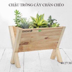 Chậu gỗ trồng hoa cao cấp chân chéo GG353035