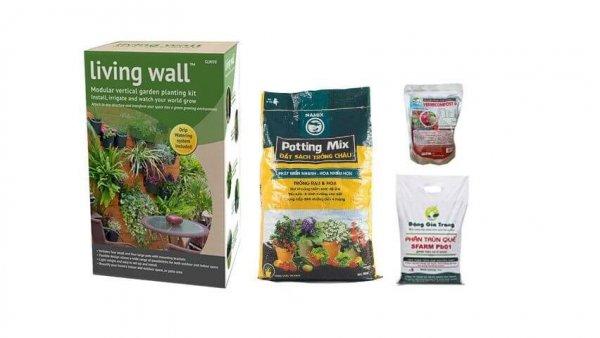 Combo làm vườn trên tường cao cấp C-05( vườn tường tự lắp ghép DIG + phân bón-đất sạch)