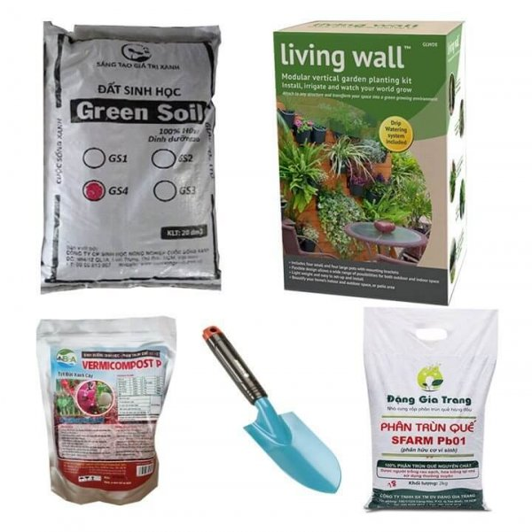 Combo làm vườn cao cấp (vườn tường,đất sạch,phân trùn quế,xẻng làm đất)-C02