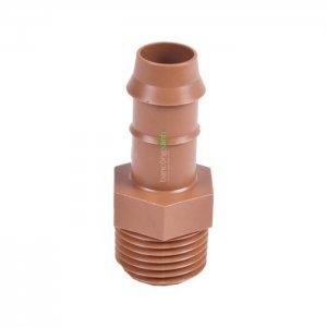 Cút nối ống PE DIG 17mm ren 27mm, màu nâu