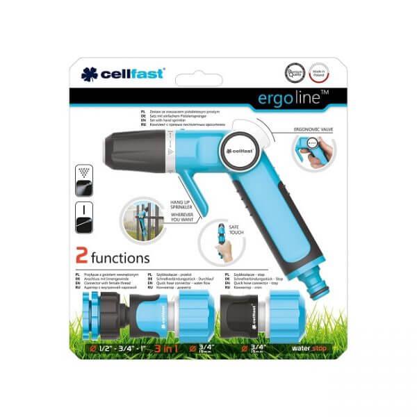 """Trọn bộ vòi tưới tay gạt 2 chế độ chất lượng cao Cellfast Ergo 3/4"""" (27mm)"""