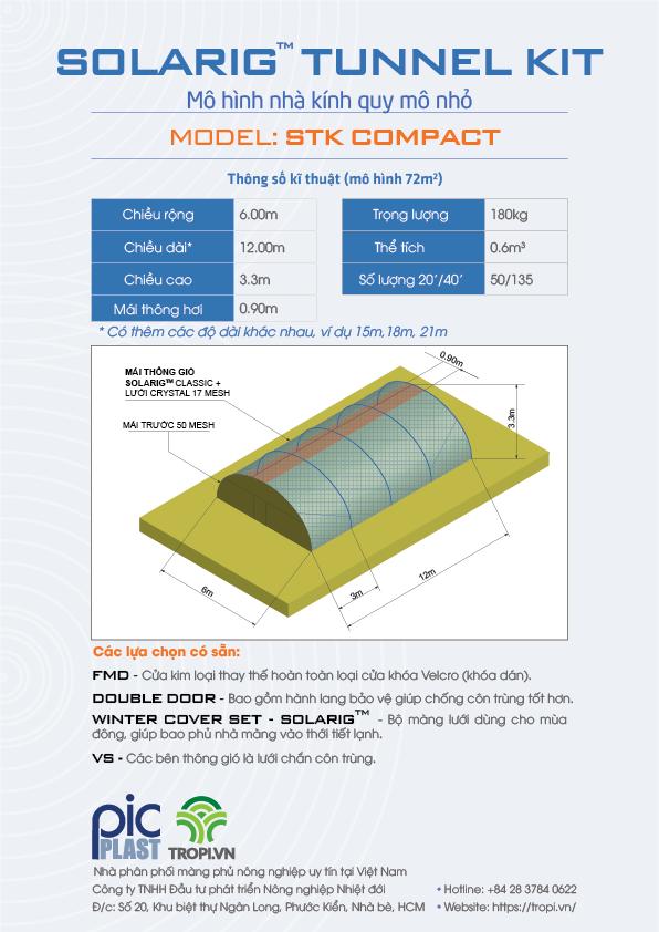 Solarig Tunnel Kit là màng phủ dành cho mô hình nhà kính 72m2 có đa dạng độ dài màng 12m, 15m, 18m, 21m