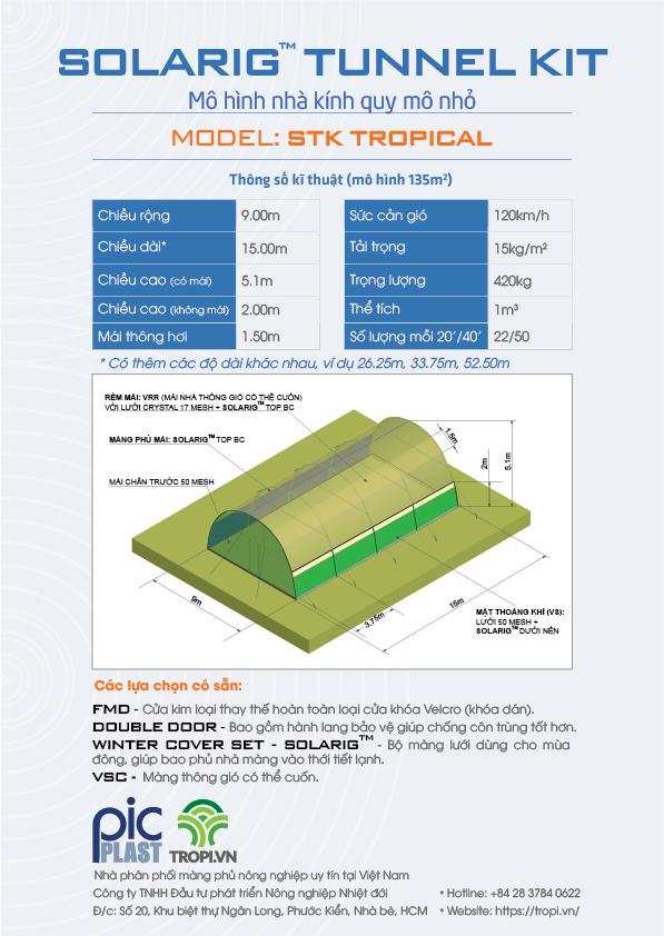 Solarig Tunnel Kit loại STK TROPICAL sử dụng cho mô hình nhà kính có quy mô 135m2 có nhiều lựa chọn về độ dài màng 15m, 26.25m, 33.75m, 52.5m